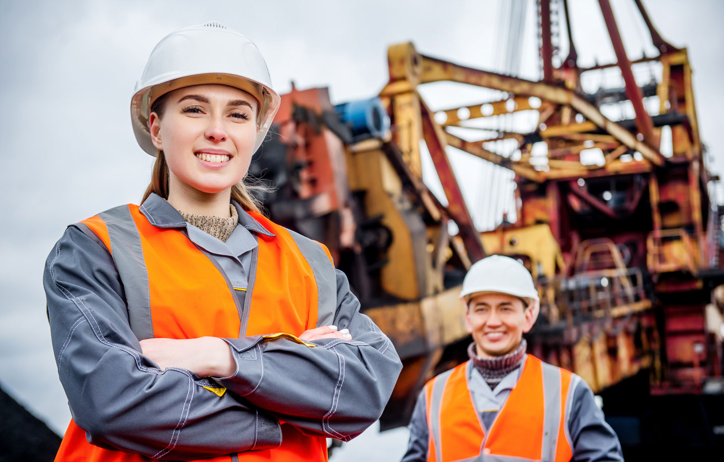 oil and gas industry workers at an oil rig